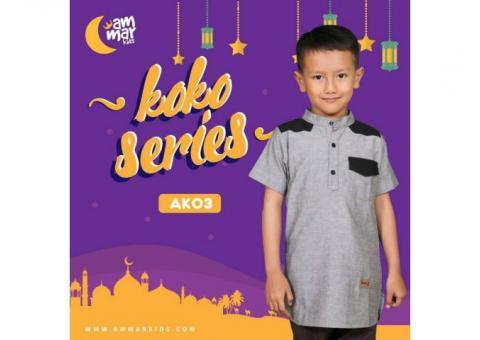 Baju Koko Anak - Techno Gray